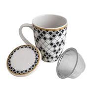 Caneca de porcelana com tampa e filtro preto e branco 310 ml