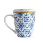Caneca de porcelana com tampa e filtro azul e branca 310 ml