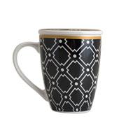 Caneca de porcelana com tampa e filtro preto e dourado 310 ml