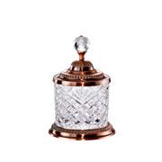 Pote de cristal e zamac bronze 19 cm