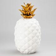 Enfeite abacaxi de cerâmica com dourado 38 cm