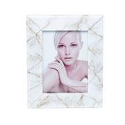 Porta retrato de vidro marmore marrom e branco 10x15 cm