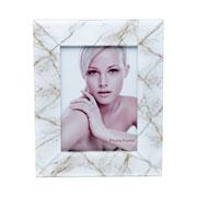 Porta retrato de vidro marmore marrom e branco 15x20 cm
