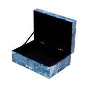 Porta jóias vidro azul e branco 24,5x17,5 cm