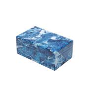 Porta jóias vidro azul e branco 21x13 cm