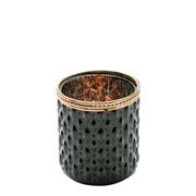 Cachepot de vidro Bristol preto e cobre 8 cm