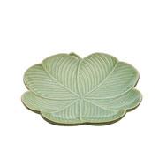 Prato decorativo de cerâmica leaf verde 26 cm