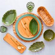 Prato de cerâmica decorativo leaf verde 23x16x04 cm