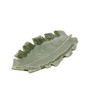 Prato de cerâmica decorativo leaf verde 21,5x12x2,5 cm
