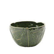 Centro de mesa de ceramica leaf verde16x16x cm.