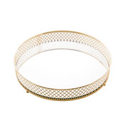 Bandeja de metal com espelho barcelona dourada 20 cm
