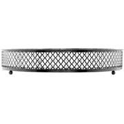 Bandeja de metal com espelho barcelona preta 25 cm