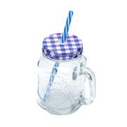 Caneca com tampa e canudo azul 425 ml