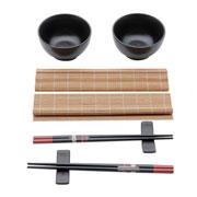 Conjunto para sushi em bambu e ceramica 08 peças