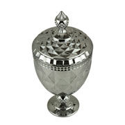 Potiche de cristal Chumbo Diamond Cinza com pé 15x32 cm