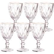 Jogo de taças de vidro para água com fio de ouro diamond 325 ml 06 peças