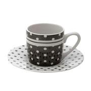 Jogo de xicaras para café Blak dots 90 ml 06 peças