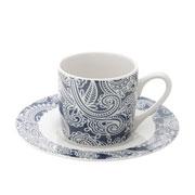 Jogo de xicaras para café de porcelana Blue com pires 90 ml 12 peças