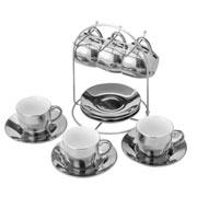 Conjunto 06 xícaras de porcelana com pires luminus prata 90 ml
