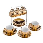 Conjunto 06 xícaras de porcelana com pires luminus dourada 90 ml