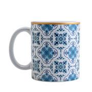 Caneca de porcelana lisboa azul e branca 330 ml