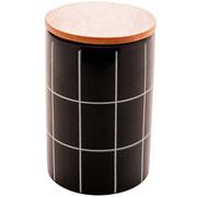 Potiche de cerâmica preto com tampa de bambu 16 cm