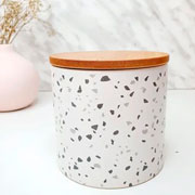 Potiche de cerâmica branco com tampa de bambu granilite 10 cm