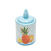 Potiche decorativo de porcelana abacaxi 20 cm