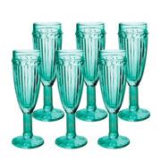 Jogo de taças Empire Verde para Champagne 170 ml 06 peças