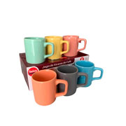 Jogo de xícaras para café de cerâmica colorido 80 ml 06 peças
