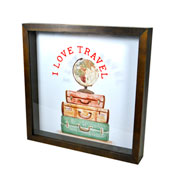 Porta ticket moldura tabaco i love travel 25x25 cm
