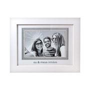 Porta retrato branco eu e meus irmãos  para foto 10x15 cm