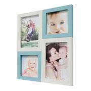 Painel de fotos branco/azul para 04 fotos