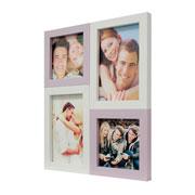 Painel de fotos branco/rosa para 04 fotos