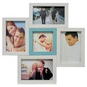 Painel de fotos branco/azul para 05 fotos