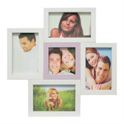 Painel de fotos branco/rosa para 05 fotos
