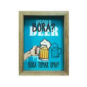 Quadro porta tampinha Bora tomar uma 17x23 cm