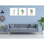 Quadro decorativo branco Cactus 32,5 cm