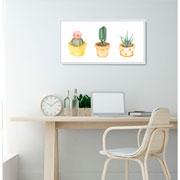Quadro decorativo branco Cactus 27x52,5 cm