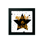 Quadro make a wish preto 30x30 cm
