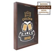 Quadro porta tampinhas Golden Beer 38x53x7 cm
