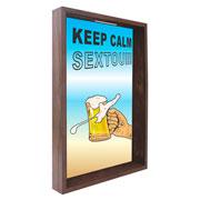 Quadro porta tampinhas Keep Calm 32x42x4 cm