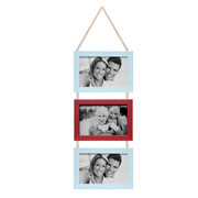 Porta retrato trio branco/vermelho 15x10 cm