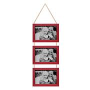 Porta retrato trio vermelho 10x15 cm
