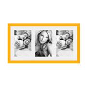 Porta retrato frame insta amarelo para 03 fotos 10x15 cm