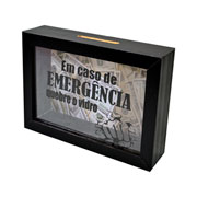 Quadro cofre de madeira emergência 17x12 cm