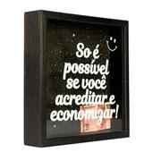 Quadro cofre de madeira economizar 22x22 cm