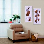 Quadro de madeira triângulos 65x30 cm