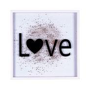 Quadro de vidro Love com glitter 42x42 cm