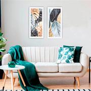 Quadro de madeira folhas 65x30 cm